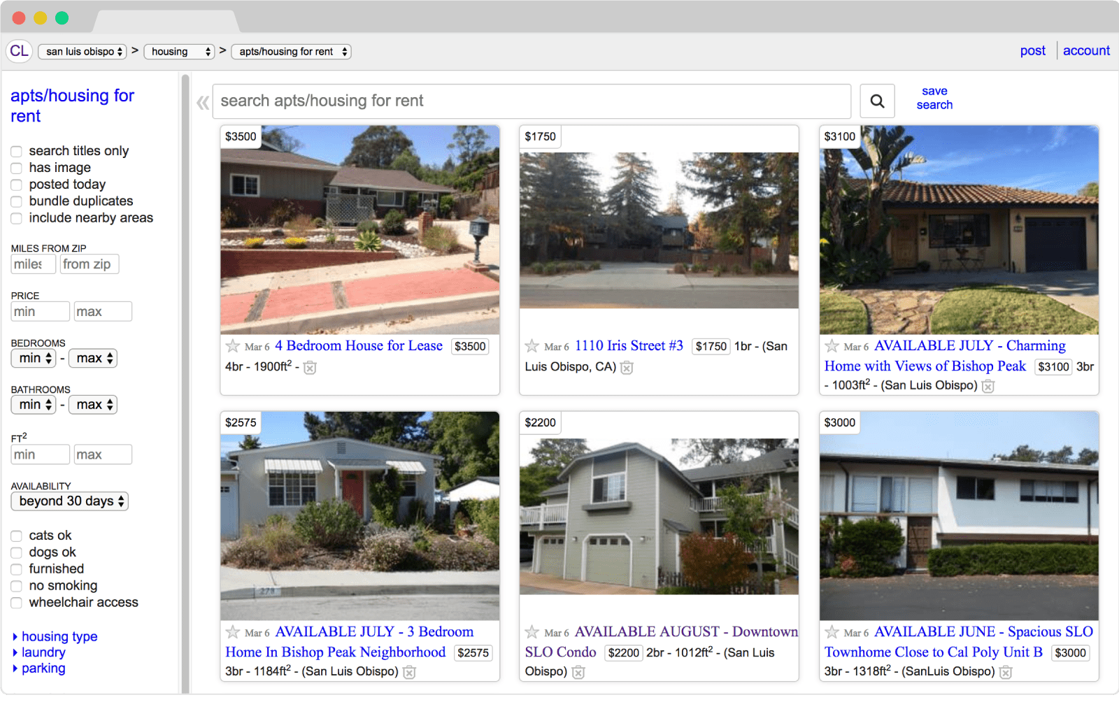 Craigslist Housing Section