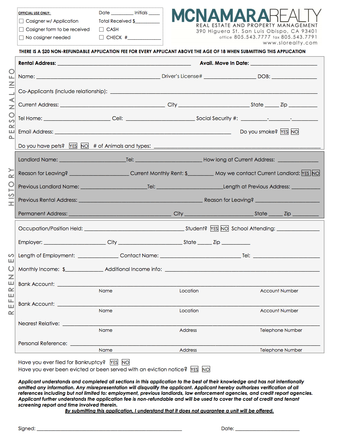 Example Rental Application